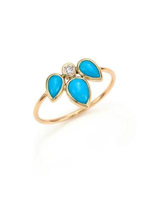 ZoË Chicco 14K Yellow Gold Ring With Turquoise And Diamond In Gold-Turquoise