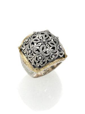 Konstantino Classics 18K Yellow Gold & Sterling Silver Floral Filigree Ring In Silver-Gold