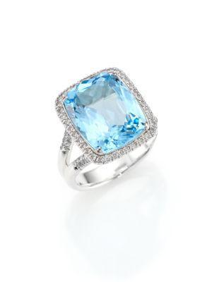 John Hardy Classic Chain Diamond, Blue Topaz & Sterling Silver Ring In Silver-Blue Topaz
