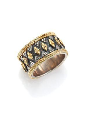 Konstantino Hebe Engraved 18K Yellow Gold & Sterling Silver Ring In Silver-Gold