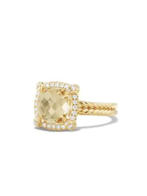 David Yurman Chatelaine Pave Bezel Ring With Champagne Citrine And Diamonds In 18K Gold In Yellow/White
