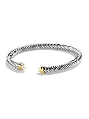 David Yurman Pearl, Sterling Silver & 14K Gold Bangle Bracelet In Silver-Gold