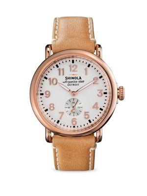 Shinola Runwell Rose Goldtone Pvd Stainless Steel & Leather Strap Watch In Rose Gold-Orange