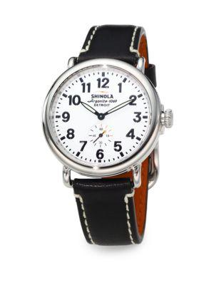 Shinola Runwell Stainless Steel & Leather Strap Watch/Black In Silver-Black