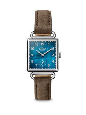 Shinola The Cass Mother-Of-Pearl, Stainless Steel & Double-Wrap Leather Strap Watch In Brown-Blue
