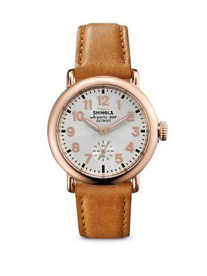 Shinola Runwell Rose Goldtone Pvd Stainless Steel & Leather Strap Watch In Rose Gold-Tan
