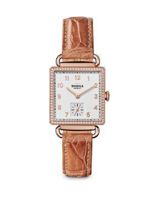 Shinola The Cass Diamond, Pvd Rose Goldtone Stainless Steel & Alligator Strap Watch In Terracotta