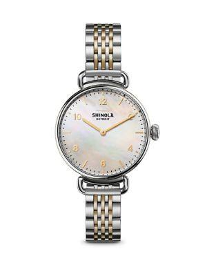 Shinola Canfield Mother-Of-Pearl & Two-Tone Stainless Steel Bracelet Watch In Silver-Gold