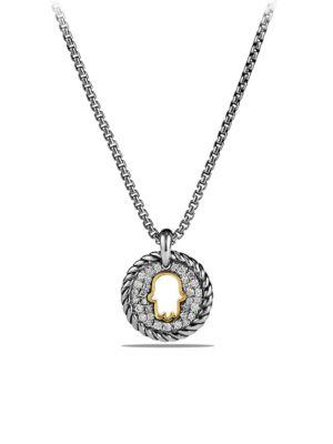 David Yurman Cable Collectibles Hamsa Charm Necklace With Diamonds And 18K Gold In Silver-Gold