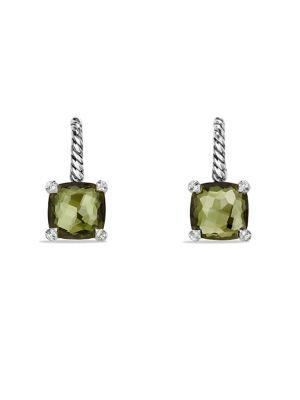 David Yurman ChÂTelaine® Drop Earrings With Gemstone And Diamonds In Green Orchid