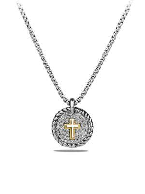 David Yurman Cable Collectibles Cross Charm Necklace With Diamonds And 18K Gold In Silver-Gold