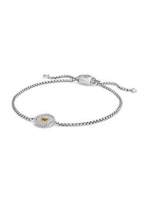 David Yurman Cable Collectibles Heart Charm Bracelet With Diamonds And 18K Gold In Silver-Gold