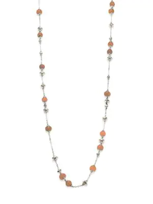 John Hardy Bamboo Peach Moonstone & Sterling Silver Sautoir Necklace In Orange