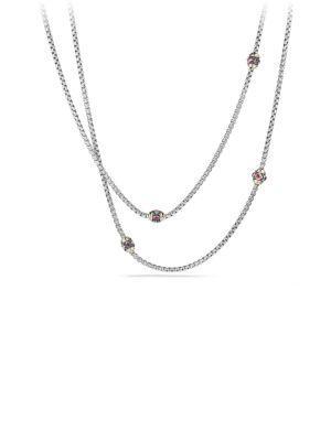 David Yurman Renaissance Necklace With Pink Tourmaline, Rhodalite Garnet And 18K Gold In Silver-Gold