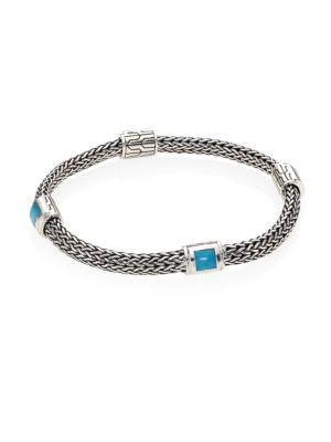 John Hardy Classic Chain Extra Small Turquoise & Sterling Silver Four-Station Bracelet In Silver-Turquoise