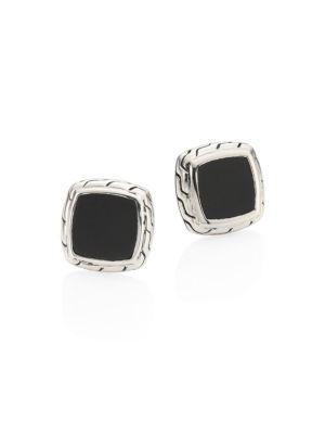 John Hardy Classic Chain Black Onyx & Sterling Silver Stud Earrings