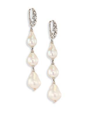 John Hardy Legends Naga 8-11Mm White Baroque Pearl & Sterling Silver Dangle Drop Earrings In Silver-Pearl