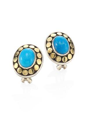 John Hardy Dot Turquoise & 18K Yellow Gold Stud Earrings In Gold-Turquoise