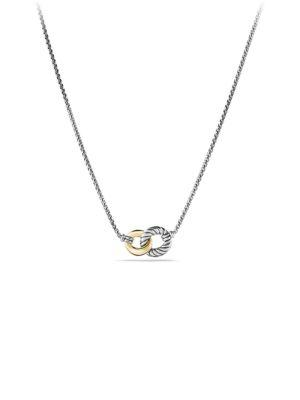David Yurman Belmont Curb Link Double Link Necklace With Gold In Silver-Gold