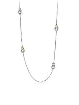 David Yurman Belmont Curb Link Four Station Necklace With Gold In Silver-Gold