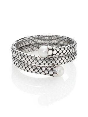 John Hardy Dot 11Mm White Pearl & Sterling Silver Double Coil Bracelet In Silver-Black