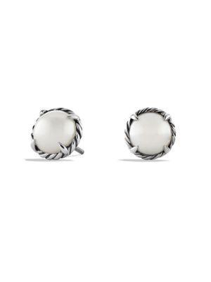 David Yurman ChÂTelaine Earrings With Pearl In Silver-Pearl