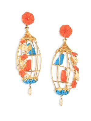 Of Rare Origin Lovebirds Coral, Turquoise, Bone & Freshwater Pearl Drop Earrings In Gold-Multi