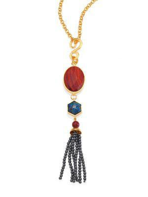 Stephanie Kantis Tribute Red Wood, Sea Jasper & Hematite Tassel Pendant In Gold-Multi