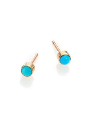 ZoË Chicco 14K Yellow Gold And Bezel Turquoise Stud Earrings In Blue/Gold
