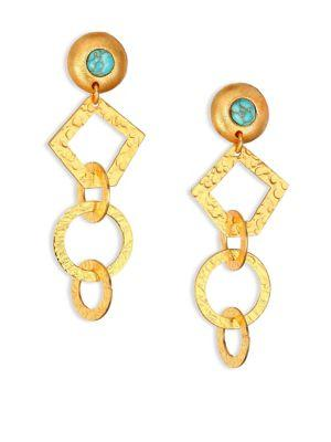 Stephanie Kantis Volatile Drop Earrings In Gold-Turquoise