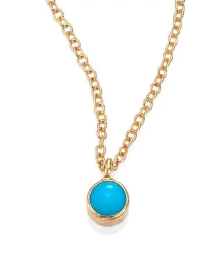 ZoË Chicco 14K Yellow Gold Single Bezel Turquoise Necklace, 14""