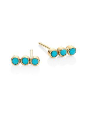 ZoË Chicco 14K Yellow Gold Triple Bezel Turquoise Stud Earrings In Gold-Turquoise