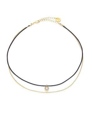 Jules Smith Dual-Strand Leather & Crystal Choker In Black-Gold