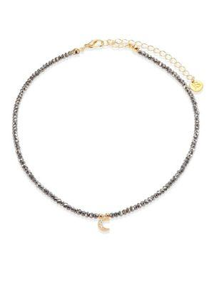 Jules Smith Selene Hematite & Pave Moon Choker In Gold/ Hematite/ Clear