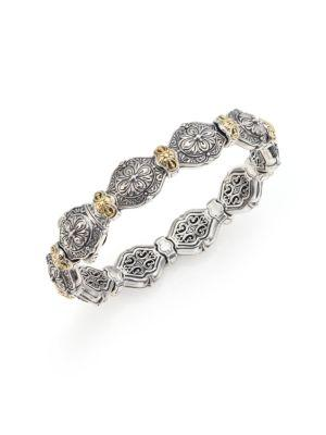 Konstantino Thalassa 18K Yellow Gold & Sterling Silver Etched Link Bangle Bracelet In Silver-Gold