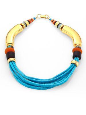 Lizzie Fortunato Turquoise & Amazonite Collar Necklace In Gold-Multi