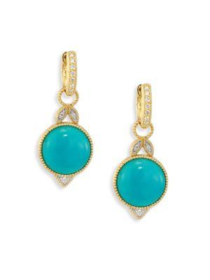 Jude Frances Lisse Diamond, Turquoise & 18K Yellow Gold Round Drop Earrings In Gold-Turquoise