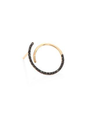 Kismet By Milka Spectrum Black Diamond & 14K Rose Gold Single Hoop Earring In Rose Gold-Black
