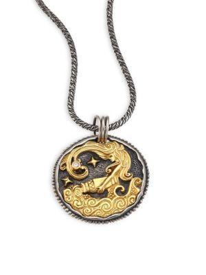 Konstantino Zodiac 18K Gold, Sterling Silver & Diamond Aquarius Pendant In Silver-Gold