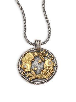 Konstantino Zodiac Diamond, 18K Gold & Sterling Silver Pisces Charm Pendant In Silver-Gold