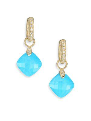 Jude Frances Lisse Diamond, Turquoise, Moonstone & 18K Yellow Gold Earring Charms In Gold-Turquoise