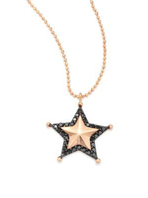 Kismet By Milka Sherriff Star Black Diamond & 14K Rose Gold Pendant Necklace In Rose Gold-Black