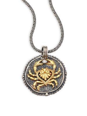 Konstantino Zodiac Diamond, 18K Yellow Gold & Sterling Silver Cancer Pendant In Silver-Gold