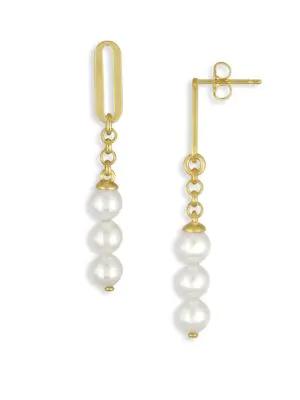 Majorica 6Mm Organic Organic Pearl Linear Drop Earrings In Gold White