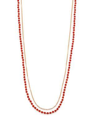 Astley Clarke Red Agate & White Sapphire Long Beaded Hamsa Charm Necklace In Gold-Red Agate