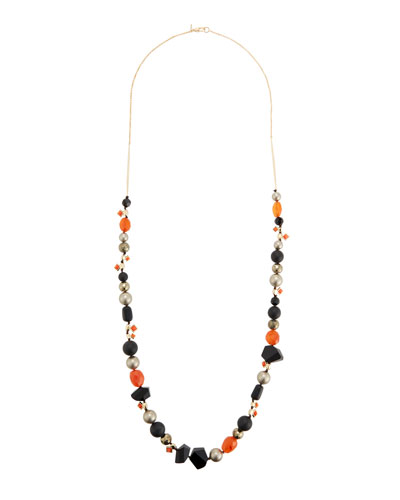 Alexis Bittar Elements Mosaic Futurist Beaded Strand Necklace In Gold-Black