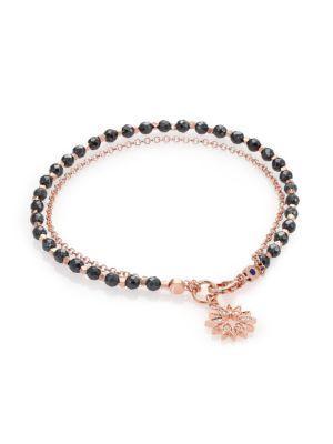 Astley Clarke Biography Hematite & White Sapphire Sun Beaded Friendship Bracelet In Rose Gold-Black