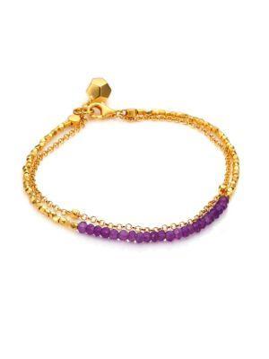 Astley Clarke Biography Amethyst Beaded Friendship Bracelet In Gold-Amethyst
