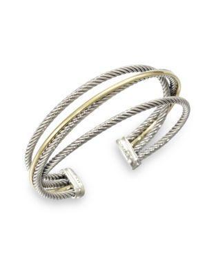 David Yurman Sterling Silver & 18K Gold Cuff Bracelet In Silver-Gold