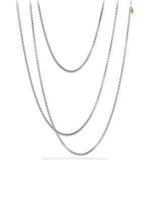 David Yurman Medium Box Chain Necklace With Gold In Silver Gold